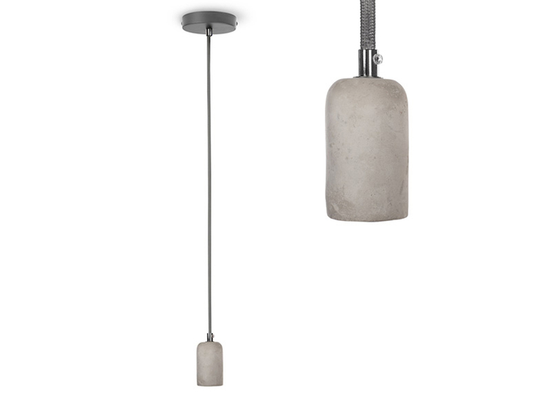 Vintage Schnurpendel aus Beton Stoff Kabel E27 Fassung Ø 5,5 cm Hängelampe