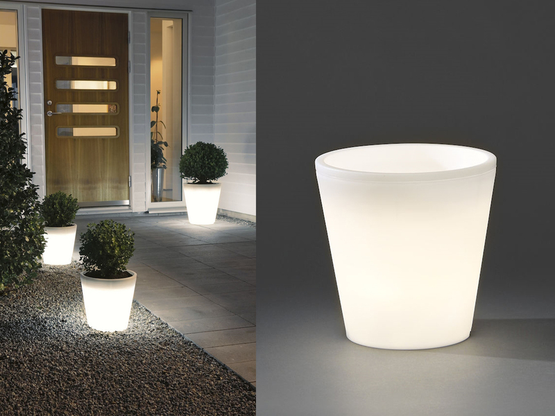 Blumentopf mit Licht Kunststoff LED Pflanzkübel beleuchtet Ø 37cm ...