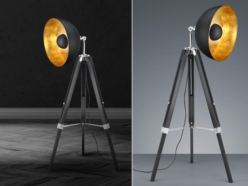 LED Stativleuchte höhenverstellbar Lampenschirm schwenkbar schwarz//gold Wohnraum