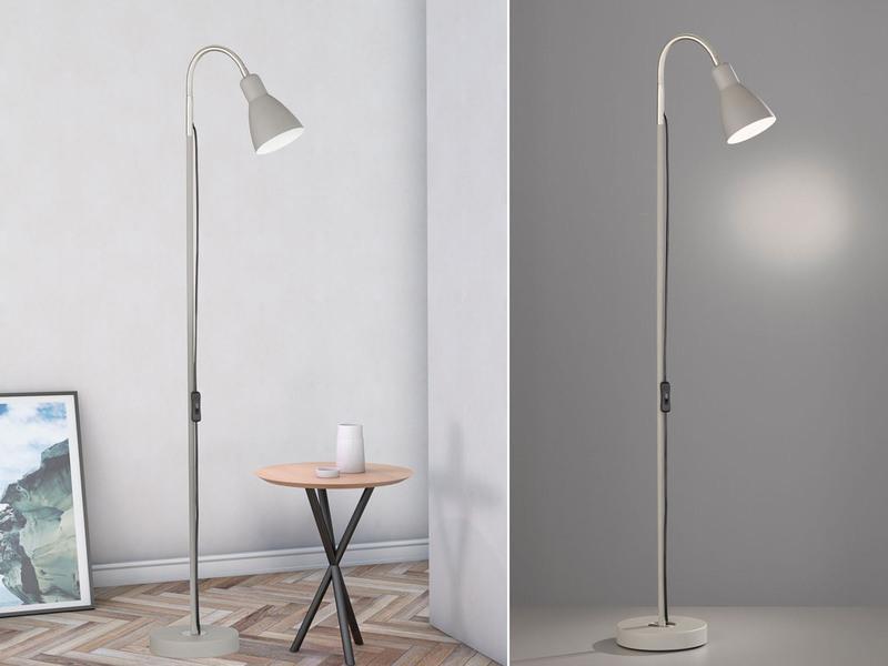 Flexible reflektorlampe grau mit led leseleuchte for Leselampe designklassiker