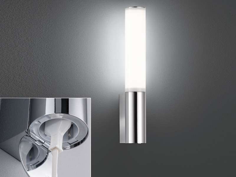 Extrem Design LED Wandleuchte Zylinder mit Steckdose fürs Badezimmer FE33