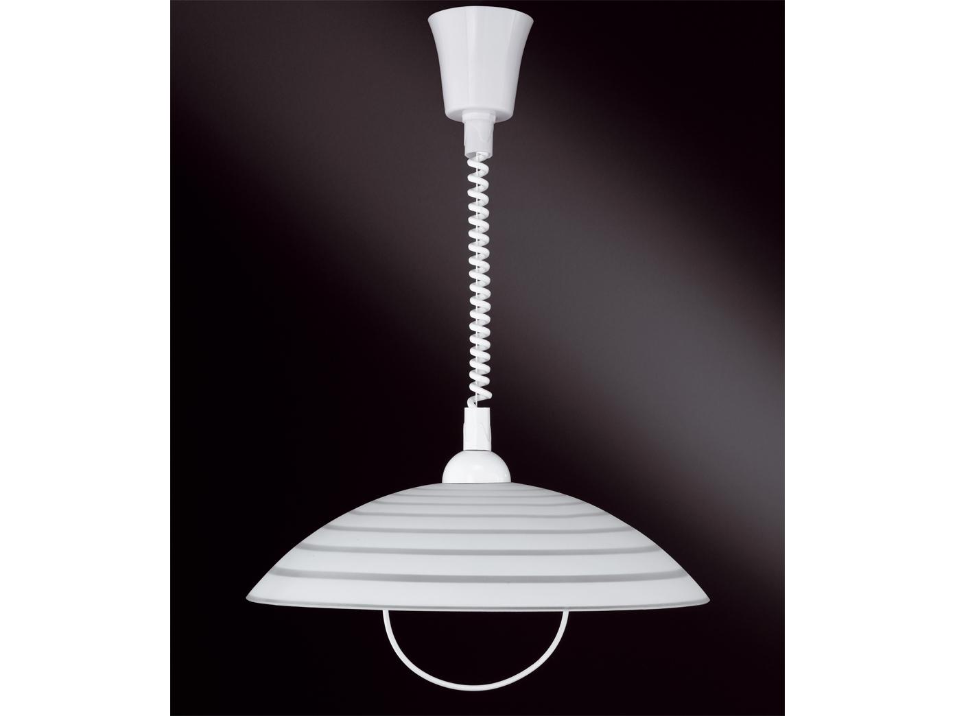 Deko Hängeleuchte, extern dimmbar, Glasschirm weiß mit Dekor, Küchenlampe