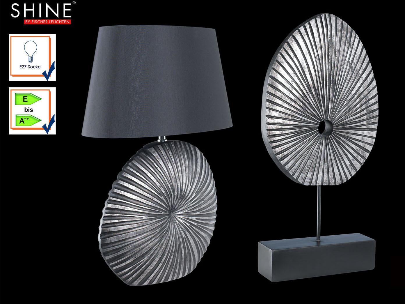 Set Moderne Tischlampe Shine Mit Deko Schwarz Nachttischleuchte